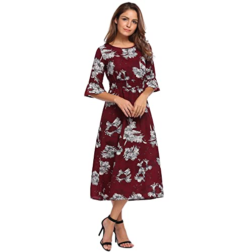 51f697c24782 OD'lover Women's Floor Length Floral Print Bohemian Beach Fall Chiffon Maxi  Dress