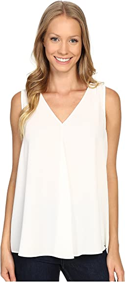 Sleeveless V-Neck Drape Front Blouse