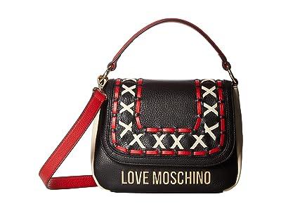 LOVE Moschino Leather Color Block Handbag (Black/Red/Ivory) Handbags
