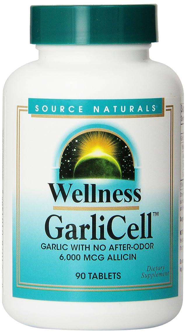 消化器スピーチ砲兵ウェルネス?ガルリセル 90 タブレット (Wellness GarliCell?) 無臭にんにくエキス 6000mcg アリシン 海外直送品