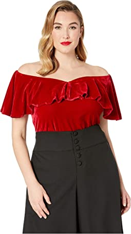 Plus Size 1950s Velvet Off the Shoulder Ruffle Frenchie Knit Top