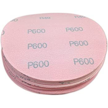 5 Inch 600 Grit High Performance Hook and Loop Wet/Dry Auto Body Film Sanding Discs, 50 Pack