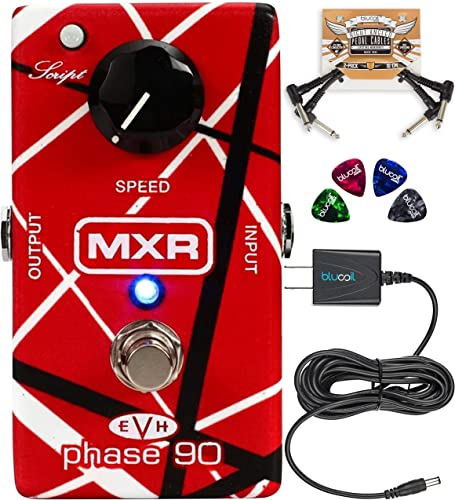 MXR EVH90 Phase 90 Pedal with True Bypass Bundle with Blucoil Slim 9V 670ma Power Supply AC Adapter, 2-Pack of Pedal Patch Cables, and 4-Pack of Celluloid Guitar Picks