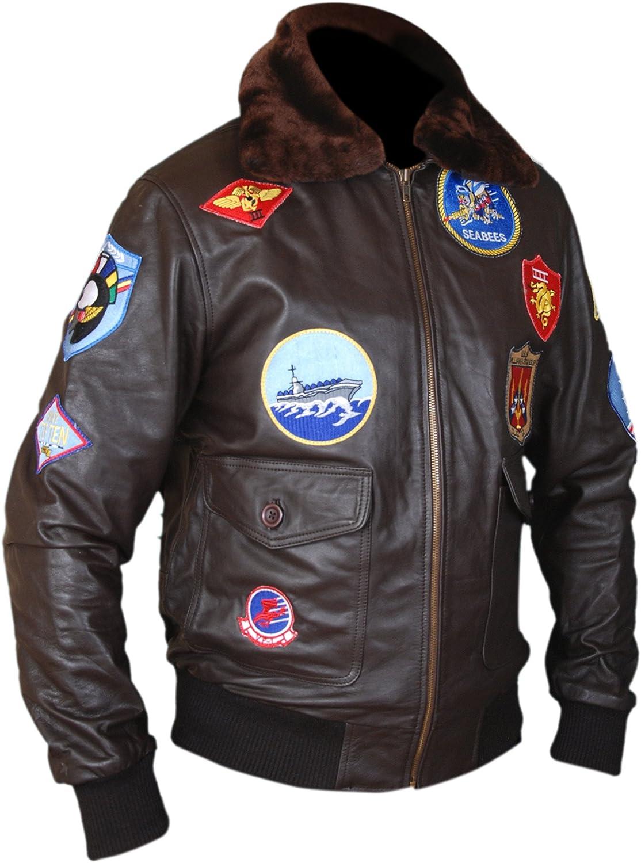 F&H Men's Top Maverick Cruise Genuine Leather Bomber Jacket
