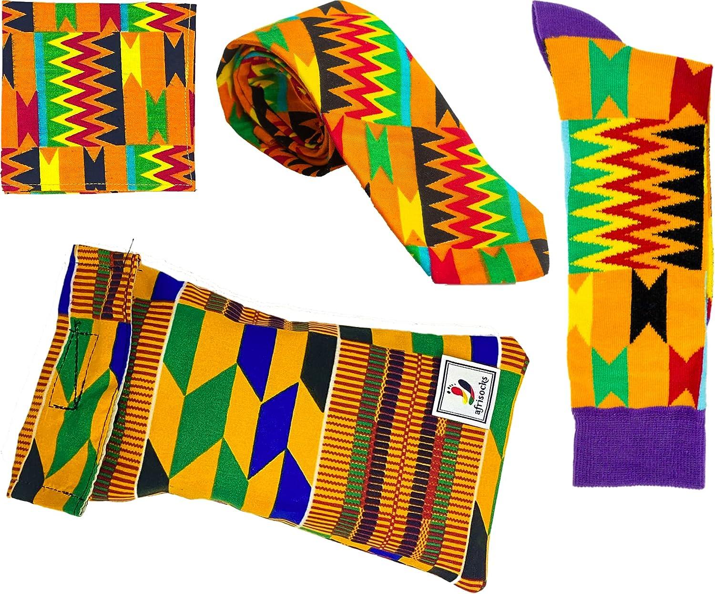 Afrisocks Kente African Neck Tie, Socks, Pocket Square set