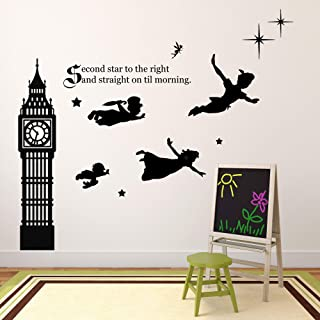 Children's Room Wall Decor | Peter Pan Scene Silhouettes | Themed Vinyl Stickers for Kids Playroom, Boy or Girl Bedroom | Second Star to Right and Big Ben Clock | Black, White, Pink, Blue, Many Colors
