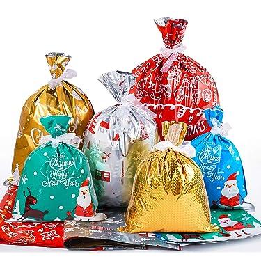 Bolsas de Navidad para regalo 30 piezas de bolsas de Navidad con cordón de varios estilos de Navidad bolsas de golosinas de Navidad con lazo para suministros de Navidad Fiesta Favor