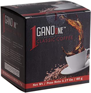 GanoOne Instant Black Coffee with Ganoderma - Reishi Mushroom Extract Breakfast Blend Sugar - Free 20 Single Serve Sachets...