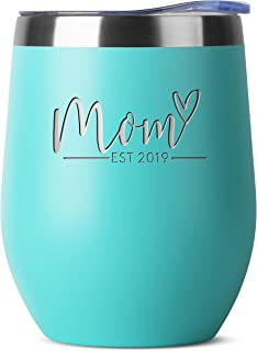 New Mom Gifts Ideas | First Time Mom Est. 2019 | Mom to be 12 oz Teal Stainless Steel Tumbler w/Lid | Mommy w/New Baby Gift | Cute Expecting Mother to be Baby Shower Presents for Her Pregnancy Moms