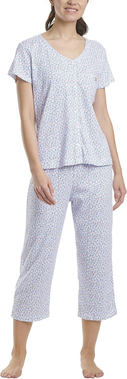 Karen Neuburger Women's Short Sleeve Cardigan Crop Pajama Set Pj