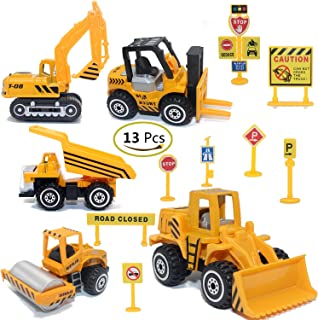 Construction Toys Sets, 5 Pieces Mini Vehicles, Including Truck Forklift Bulldozer Road Roller Excavator Dump Truck Tracto...