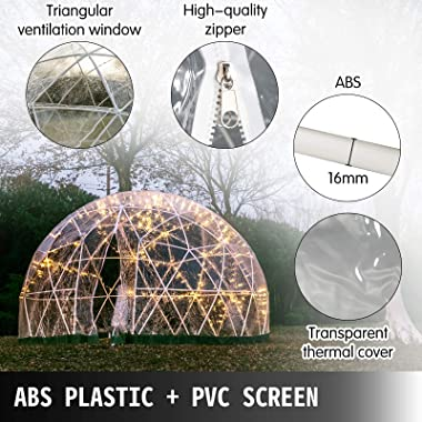 Patiolife Garden Dome 12ft - Geodesic Dome with PVC Cover - Lean to Greenhouse with Door and Windows for Sunbubble, Backyard,
