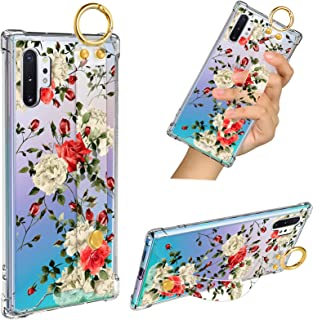 Samsung Galaxy Note 10 Plus 5G Case Red Rose Wrist Strap Band Kickstand Soft TPU Bumper Hard PC Shockproof Anti-Fall Scrat...