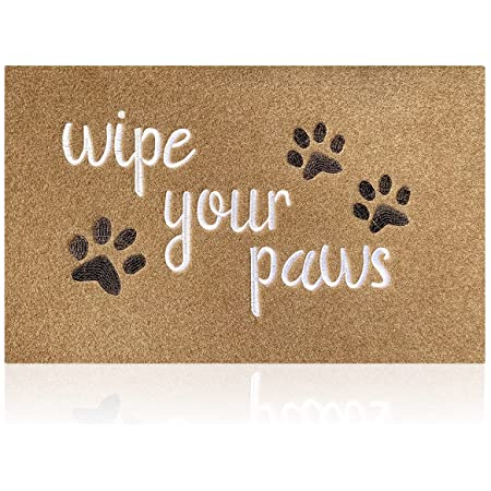 Outdoor Doormat Entrance Door Mats Indoor Wipe Your Paws Doormats Washable Kitchen Rug Funny Resist Dirt Pet Dog Rugs Welcome Mat for Front Door Durable Non Slip Rubber
