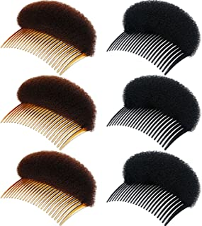Chuangdi 6 Pieces Lady Volume Hair Base Inserts Bump Up Hair Pads Stick Bun Maker Hair Styling Clip Stick Hair Comb Braid Tool Hair Accessories (Black and Brown)