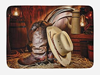 Ambesonne Western Bath Mat, American West Rodeo Elements with Antique Supplies Retro Artwork Photo, Plush Bathroom Decor Mat with Non Slip Backing, 29.5