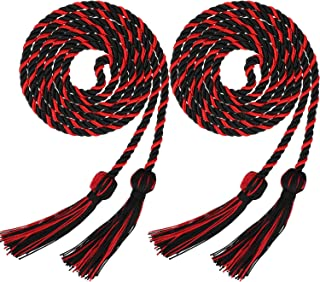 2 Pieces Graduation Cords Polyester Yarn Honor Cord with Tassel for Graduation Students (Black with Red)