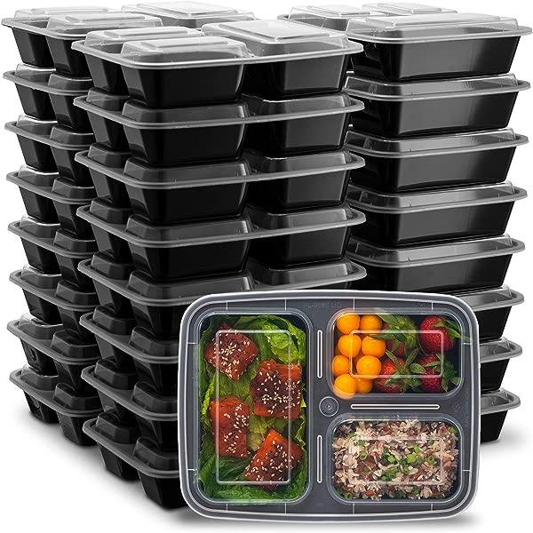 Ez Prepa 25 包 32 盎司 3 室餐前准备容器带盖食品储存容器不含 BPA 塑料便当盒午餐容器微波炉可冷冻和洗碗机安全食品容器