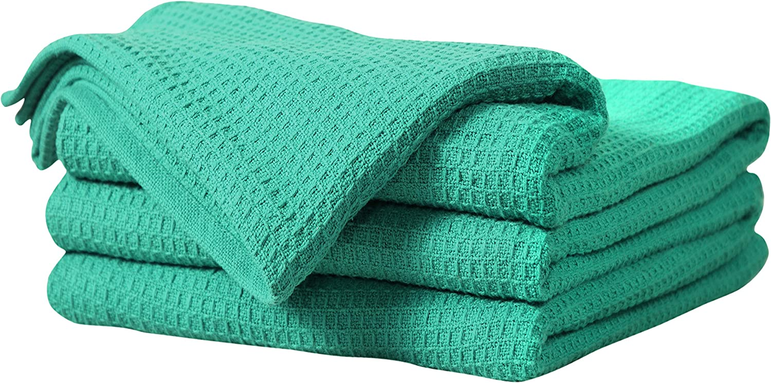 Tex Trend 100% Cotton Blankets Waffle Weave Queen Size (90x90 Inch),Sea Green color - Soft Premium Light Weight Breathable Cotton Thermal Blankets for Bed Couch - Provides Comfort and Warmth for Years