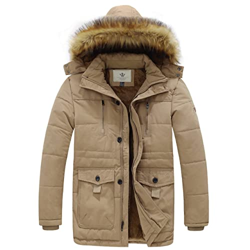 Mordenmiss Mens Winter Parka Jacket Thick Windbreaker Puffer Coat Outerwear w//Removable Hood