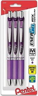 Pentel Pink BCA Pentel EnerGel  RTX Retractable Gel Ink Pen Pack, (0.7mm), Medium Point, Metal Tip, Silver Barrel, Violet Ink, 3 Pack (BL77BP3V)