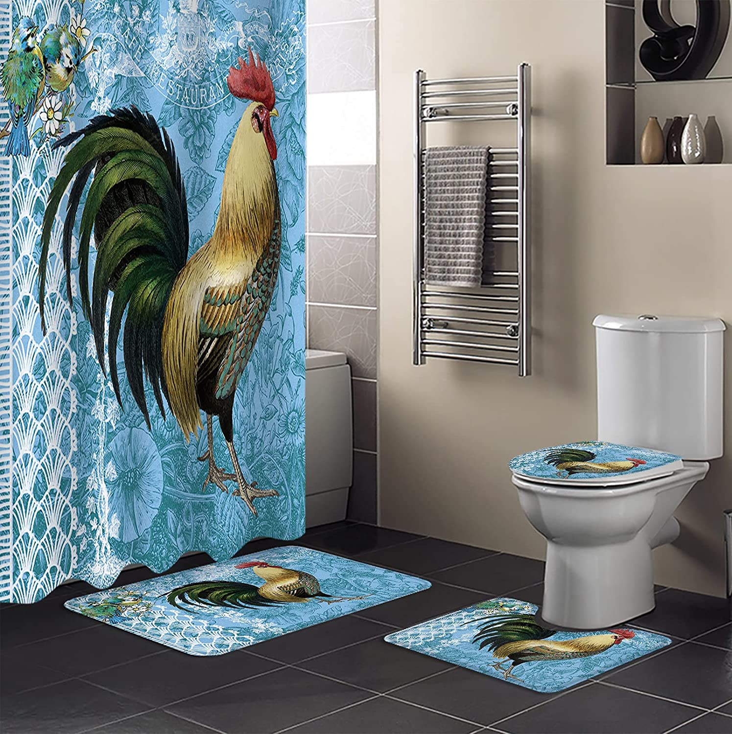 4 Luxury Piece Shower Curtain Sets with Ranking TOP10 Toilet Non-Slip Lid Rug CoverB