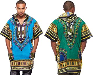 61cc64bec29 Dashiki Men s African Swag Loose Traditional Long Hoodie Top (2 ...
