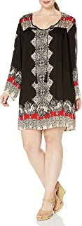 Angie Women's Plus Size Black Printed Bell Sleeve Dress