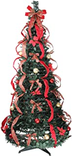 Northlight 6' Pre-Lit Gold and Red Plaid Pop-Up Artificial Christmas Tree - Multicolor Lights