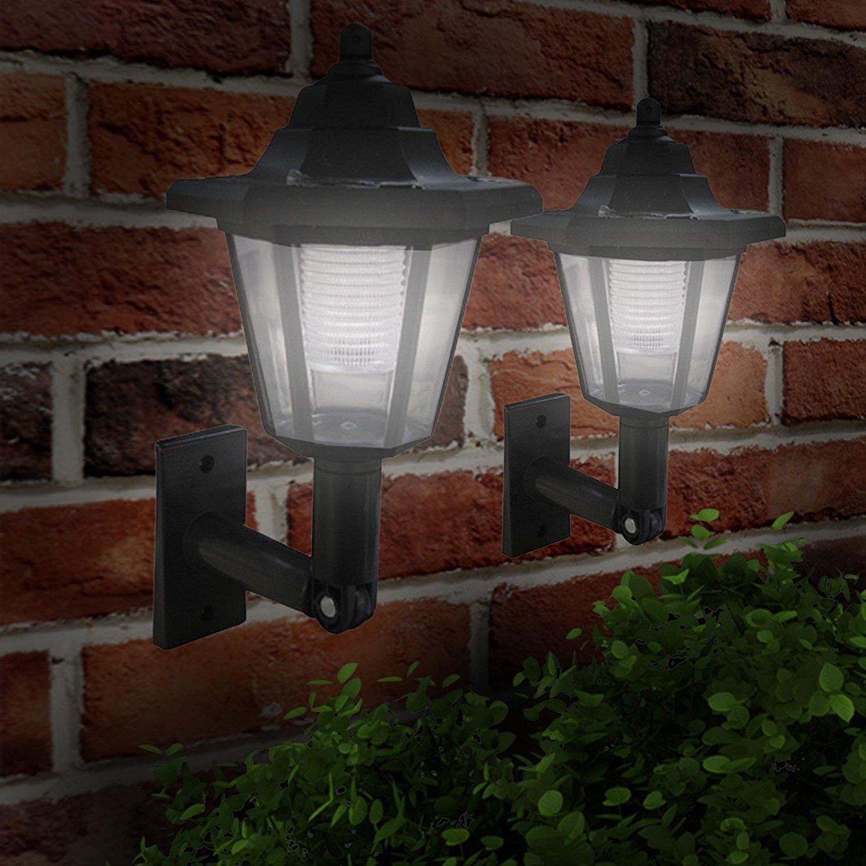 Garden Mile Pack de 4 las luces solares jardín exterior Luces LED Negro Victoriana Farol farol exterior Aplique Pared, Tradicional las luces solares Iluminación Jardín: Amazon.es: Jardín