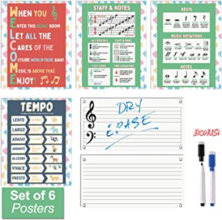 Music Posters for Classroom - Includes 2 Large Dry Erase Music Staff Sheets and Markers