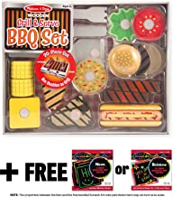 Melissa & Doug Grill & Serve BBQ Set: Wooden Play Food Set & 1 Scratch Art Mini-Pad Bundle (09280)