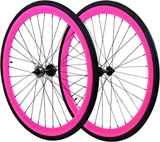 Wheel Set, Front and Fixed Gear Flip-Flop Rear Wheels 40mm Includes Tires and Inner Tubes