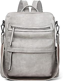 Rucksack Leder Damen Rucksackhandtaschen Groß Schulrucksack Schultertasche für Frauen 2 in 1 Grau Tagesrucksack