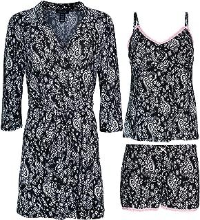 Rene Rofe Women's 3-Piece Pajama Set - Shorts, Cami and Robe
