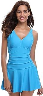 SHEKINI de una Pieza de la Mujer Falda Traje de baño Fruncido Retro Swimdress bañador (X-Large, Azul Cielo)