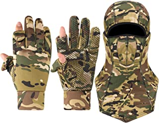 Geyoga 1 Pair Camouflage Hunting Mitten and 1 Piece Camouflage Full Face Covering Balaclava Anti-Slip Full Finger/Fingerle...