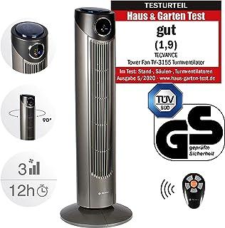 Tecvance Ventilador de Torre con Mando a Distancia y Pantalla Digital - Extra Silencioso y Oscilante 80 ° - 3 Niveles de Velocidad y Temporizador – Termómetro Integrado – Moderno Diseño