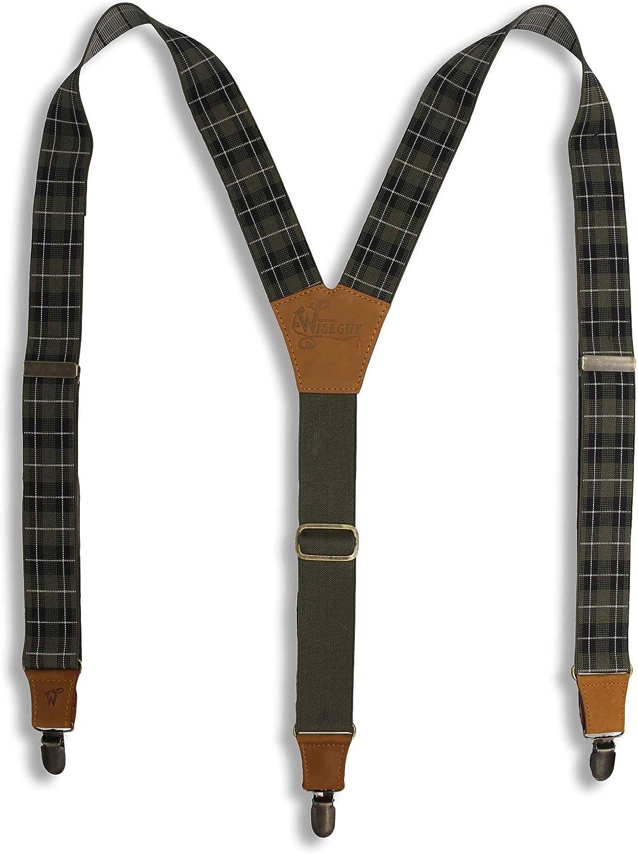 Suspenders Tartan Scottish Design Olive Black Elastic 1.36 inch | Wiseguy Original