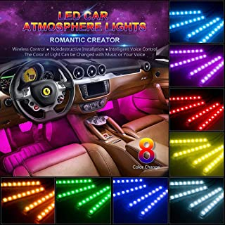 wsiiroon Car LED Strip Light,4pcs 48 LED Multicolor Music Car Interior Lights Under Dash Lighting Waterproof Kit with Sound Active Function and Wireless Remote Control, Car Charger Included, DC 12V