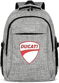 HYMANWASQHFT Laptop Best Backpack Ducati-for-Sale-Store-Motor-Black- Water Resistant School Bookbags with USB Port