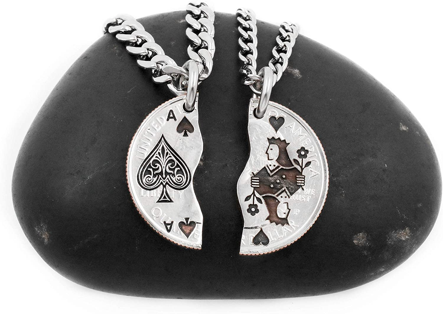 NameCoins Ace of Spades and Queen Necklaces for BF Cheap bargain lowest price Friends Best