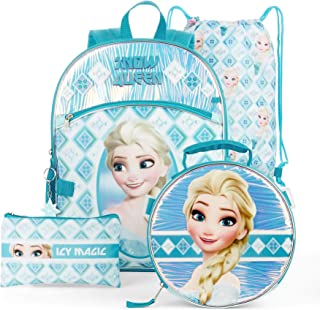 Girls Frozen 5 Pc Set Backpack Includes Cinch Sack, Lunch Kit, Dangle, Zip Case, and Backpack (16 Inch Elsa Snow Queen 5 Piece Set)
