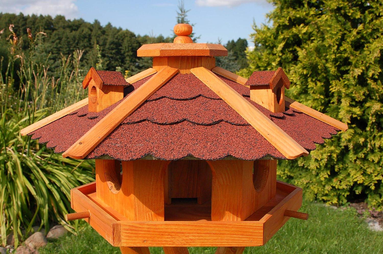 Vogelhaus Futterhaus Vogelvilla Heide aus Echtholz mit Futtersilo zum einfachen bef/üllen