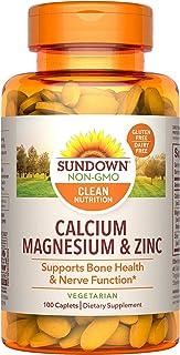 Sundown Calcium Magnesium Zinc Caplets for Immune Support, Non-GMO, Vegetarian, Dairy-Free, Gluten-Free, 100 Count