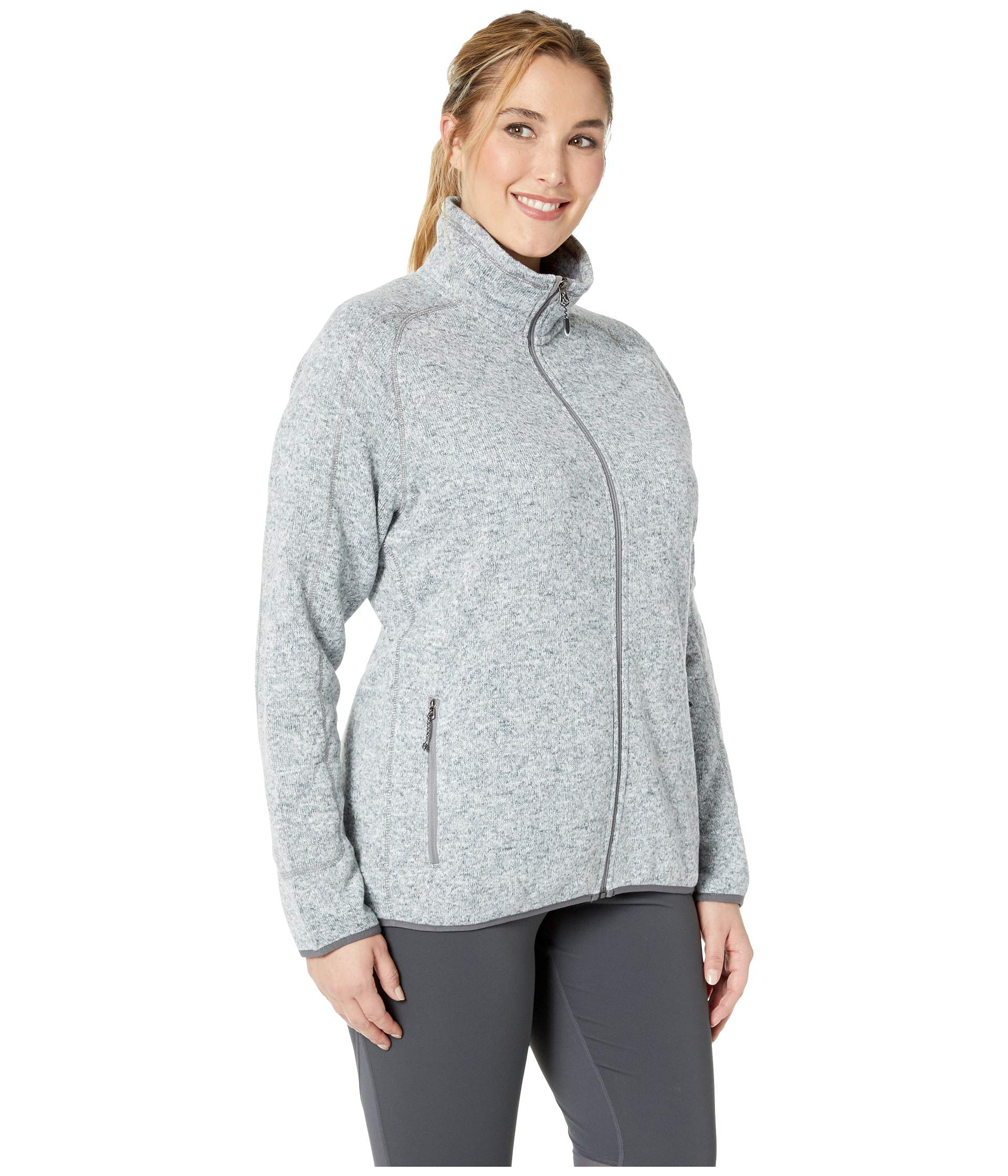 Zip Full Sweater Jacket Heather Fleece Sierra Gray Size Plus White Xavpq