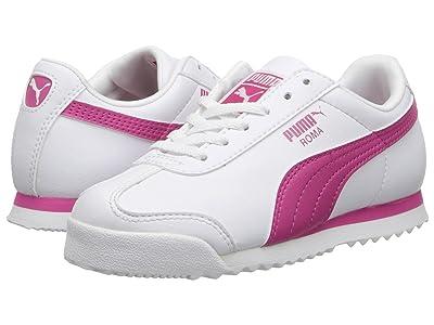 Puma Kids Roma Basics Jr (Little Kid/Big Kid) (White/Fuchsia Purple) Girls Shoes