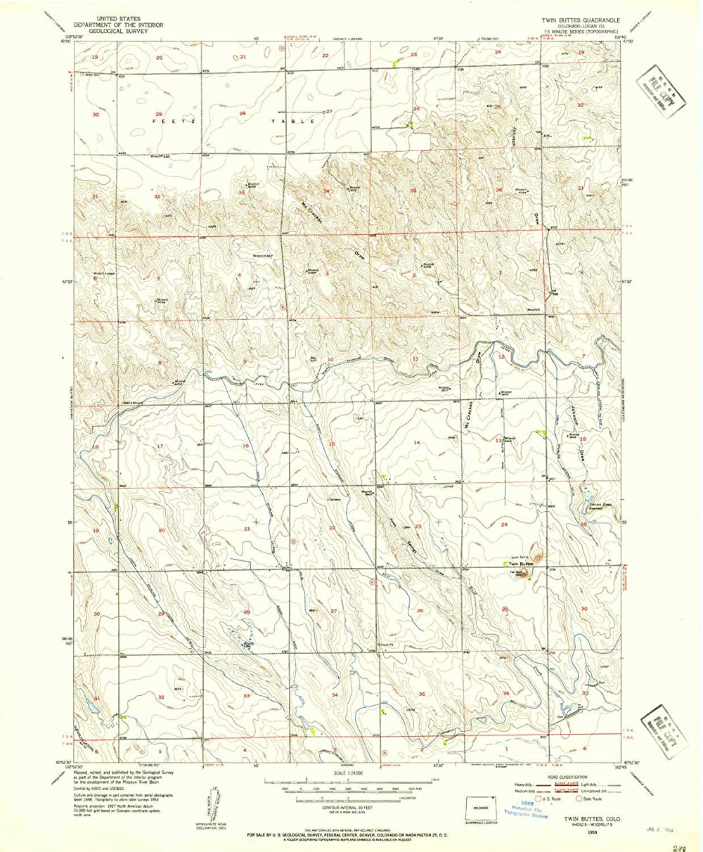YellowMaps Twin Buttes CO topo map, 1:24000 Scale, 7.5 X 7.5 Minute, Historical, 1953, Updated 1954, 26.9 x 22.2 in