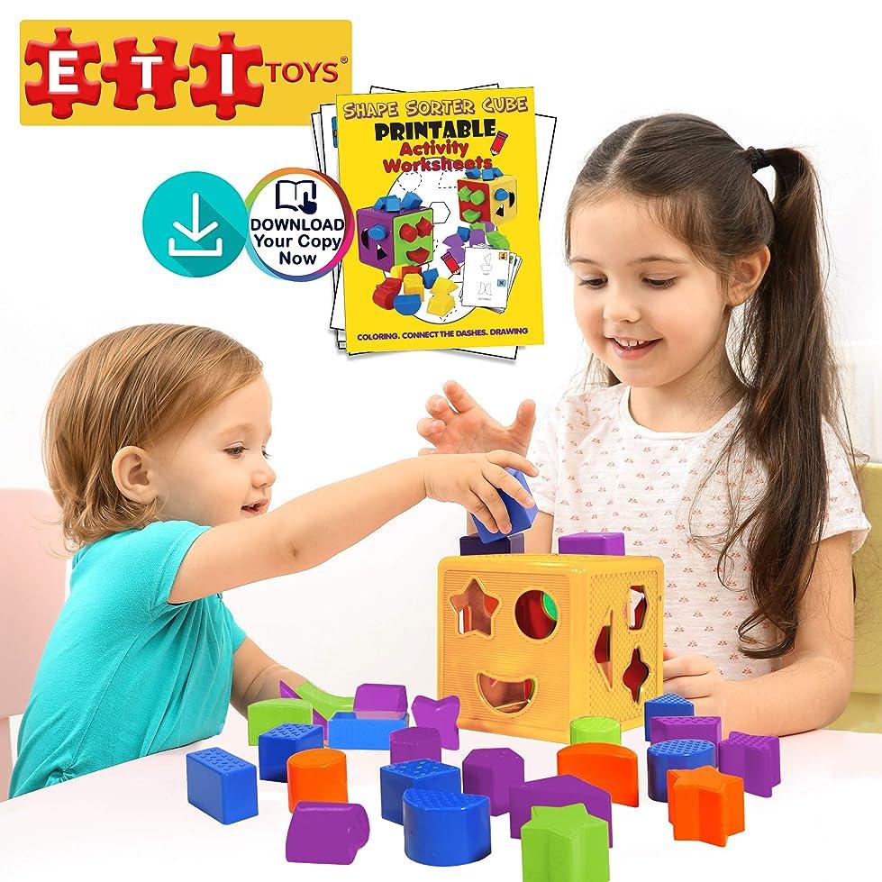 ピケ思われるオーブン(Yellow-red) - ETI Toys 19 Piece Unique Educational Sorting Matching Toy for Toddlers. Colourful Sorter Cube Box & Shapes - Non-Toxic Safe Materials - Promotes Fun Learning, Creativity & Skills (Yellow-Red)