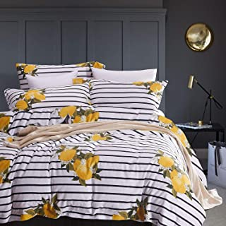 Wake In Cloud - Striped Comforter Set, 100% Cotton Fabric with Soft Microfiber Fill Bedding, Yellow Lemon Pattern with Black and White Stripes Printed (3pcs, Queen Size)